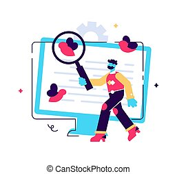 Programmer cartoon character with magnifier