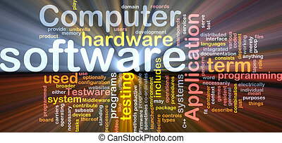 Software package box Word cloud concept illustration of computer software