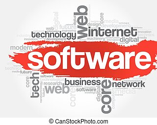 Software word cloud, business concept