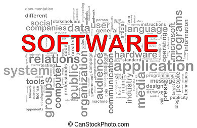 Software word tags - Illustration of computer software...