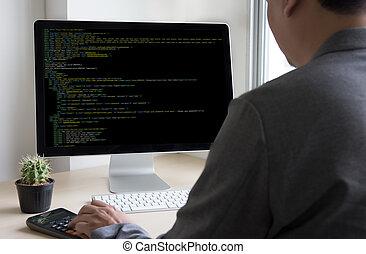 softwareand, ディスプレイ, チーム, 原稿, オンラインで, デザイン, モビール, コンピュータ, デベロッパー, ラップトップ, 仕事, 内容, 網, 適用, 技術