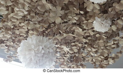 Softy wind flow to paper craft hanging, stock video