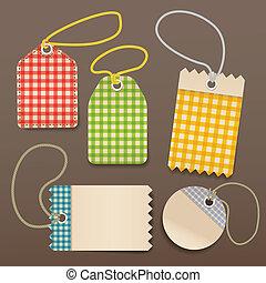 soga, a cuadros, compras, etiquetas