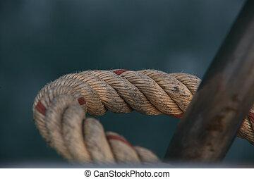 soga, barco, rígido, doblado
