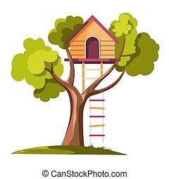 soga, día, casa, escalera, árbol
