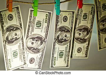 soga, dólares, blanco, aislado