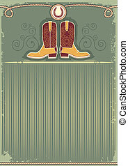 soga, decoración, plano de fondo, vaquero, boots., vendimia, occidental, herradura