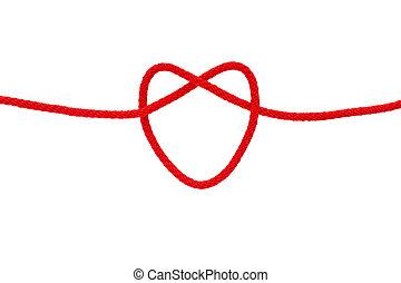 soga, forma corazón, rojo