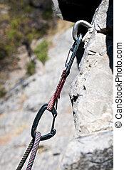 soga, montañismo, carabiner