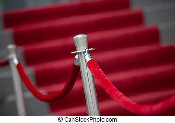 soga, rojo, barrera, alfombra