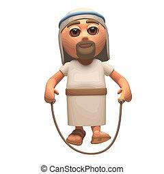 soga, saltar, cristo, 3d, feliz, ilustración, jesús