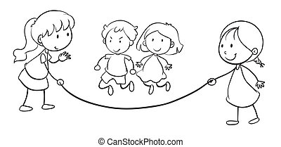 soga, salto, niños