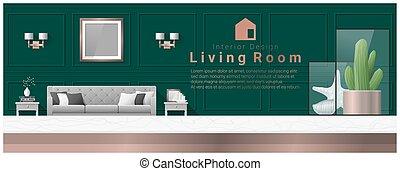 soggiorno, cima, moderno, 2, disegno, fondo, interno, tavola