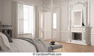 soggiorno, classico, vendemmia, moderno, scandinavo, disegno, lusso, camera letto, interno, caminetto, bianco
