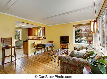 soggiorno, colorito, legno duro, walls., divano, giallo, bello