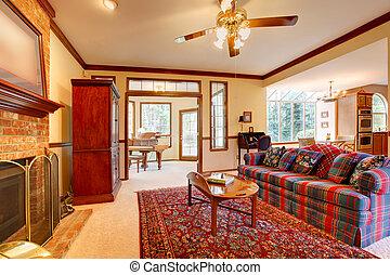 Vivente, stile, stanza, inglese, caminetto, mobilia foto d\'archivio ...