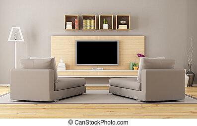 soggiorno, con, tv