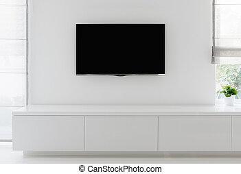 soggiorno, dettaglio, tv, su, parete