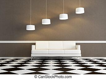 soggiorno, divano, bianco, minimo, tessuto