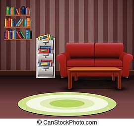 soggiorno, divano, interno, rosso, confortevole