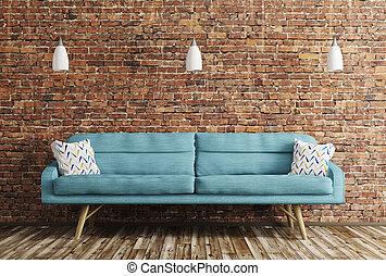 soggiorno, divano, interpretazione, interno, 3d