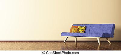 soggiorno, divano, interpretazione, panorama, interno, 3d