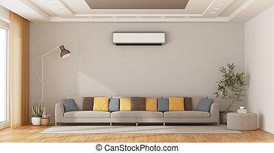 soggiorno, divano, moderno, condizionatore aria