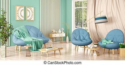 soggiorno, divano, moderno, due, interpretazione, disegno, poltrone, interno, piante, 3d