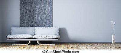 soggiorno, divano, moderno, interpretazione, disegno, interno, 3d