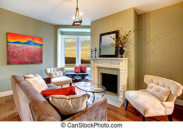soggiorno, elegante, pareti, verde, red.