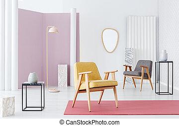 soggiorno, giallo, poltrona