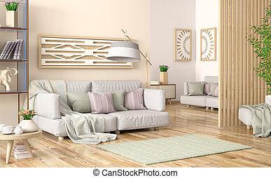 soggiorno, grigio, legno, moderno, divano, interpretazione, pannellatura, libri, disegno, scaffale, interno, 3d