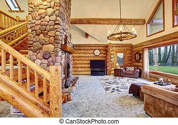 soggiorno, house., luminoso, americano, interno, cabina,...