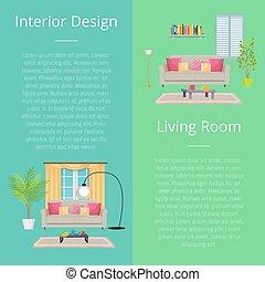 soggiorno, illustrazione, vettore, disegno, interno