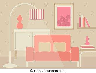 soggiorno, in, dolce, tono