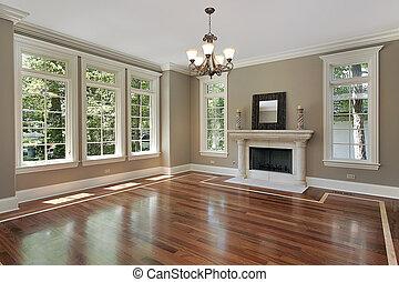 soggiorno, in, nuovo, costruzione, casa