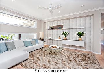 soggiorno, in, uno, lussuoso, casa, con, naturale, decorazione, e, bianco, sofà