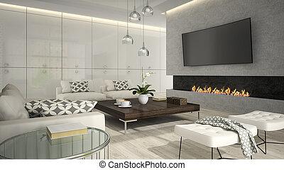 soggiorno, interpretazione, 2, interno, elegante, caminetto, 3d