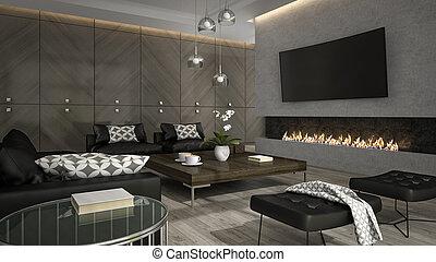 soggiorno, interpretazione, 3, interno, elegante, caminetto, 3d