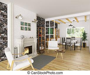 soggiorno, interpretazione, interno, caminetto, 3d