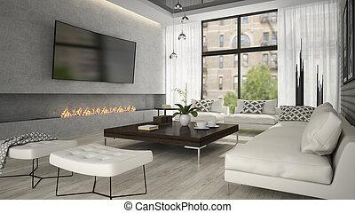 soggiorno, interpretazione, interno, elegante, caminetto, 3d