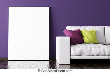 soggiorno, manifesto, interpretazione, divano, interno, 3d