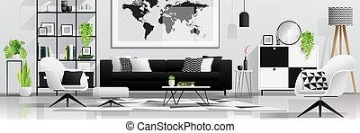 soggiorno, moderno, 1, fondo, interno