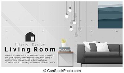 soggiorno, moderno, 2, disegno, fondo, interno