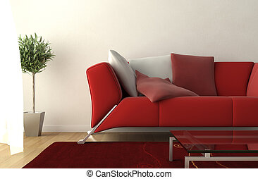 soggiorno, moderno, dettaglio, disegno, interno