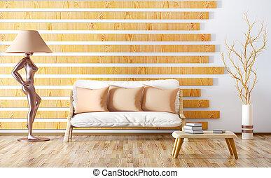 soggiorno, moderno, divano, interpretazione, disegno, interno, 3d