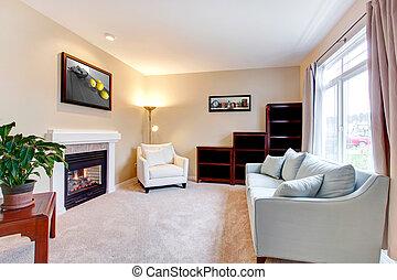 soggiorno, moderno, elegante, americano, interno, fireplace.