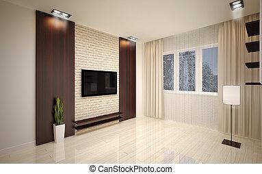 soggiorno, moderno, interno, vuoto, design.
