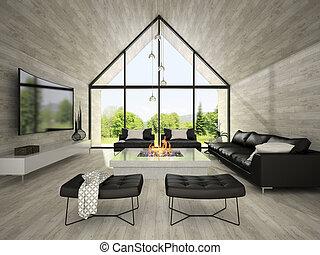 soggiorno, moderno, interpretazione, 2, disegno, interno, 3d
