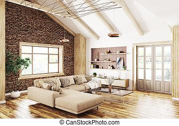 soggiorno, moderno, interpretazione, interno, 3d